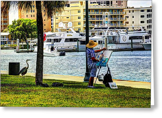 Painter At Work Greeting Cards - Can I Watch Greeting Card by Mo Ogilvie