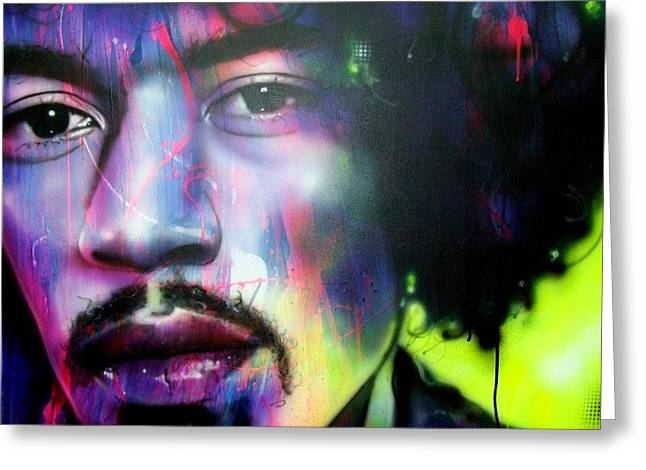 Jimi Hendrix Paintings Greeting Cards - Can You Hear Me Greeting Card by Christian Chapman Art