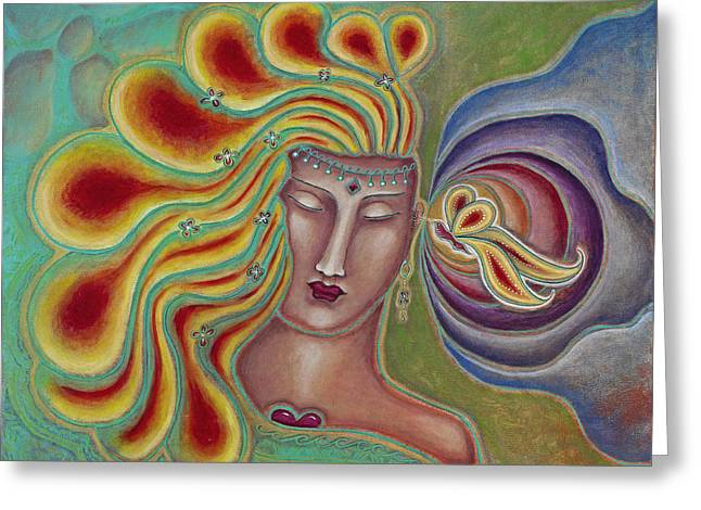 Merging Paintings Greeting Cards - Can You Hear Metamorphosis Greeting Card by Annette Wagner