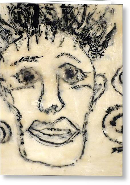 Wax Mixed Media Greeting Cards - Can You See Me Now? Greeting Card by Susan Andre