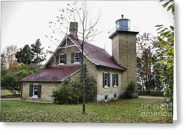 Eagle Bluff Lighthouse Greeting Cards - Eagle Bluff Lighthouse Greeting Card by David Arment