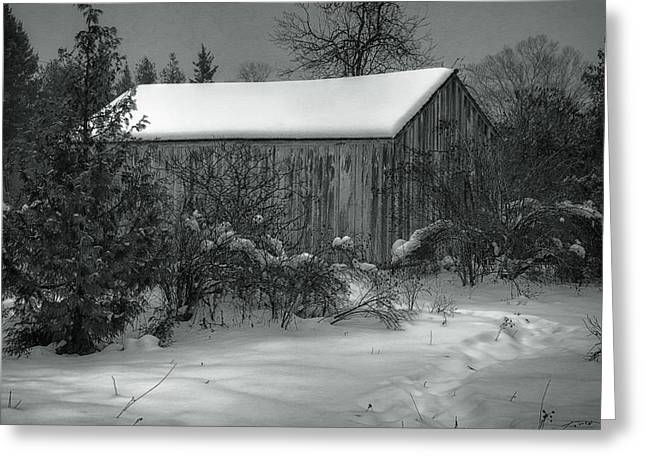 Winter Storm Greeting Cards - Cana Island Barn Greeting Card by Joan Carroll