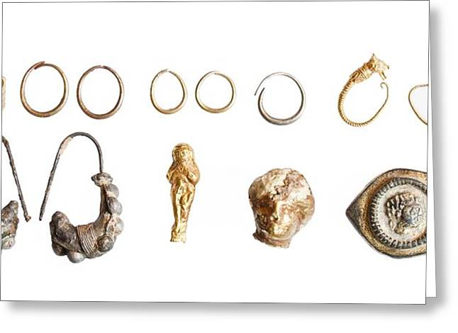 Ancient Earrings Greeting Cards - Canaanite and Iron Age Jewellery Greeting Card by Science Photo Library