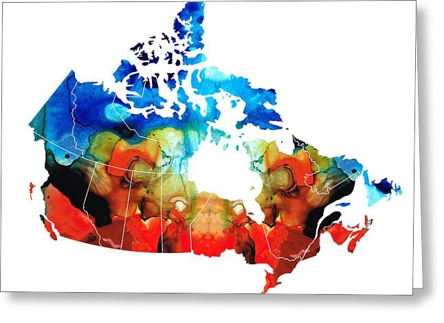 Canada Mixed Media Greeting Cards - Canada - Canadian Map by Sharon Cummings Greeting Card by Sharon Cummings