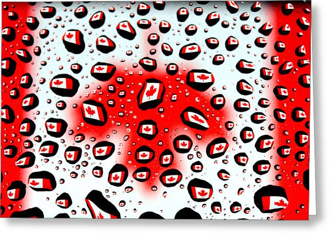 Canada Flag In Water Drops Greeting Card by Paul Ge