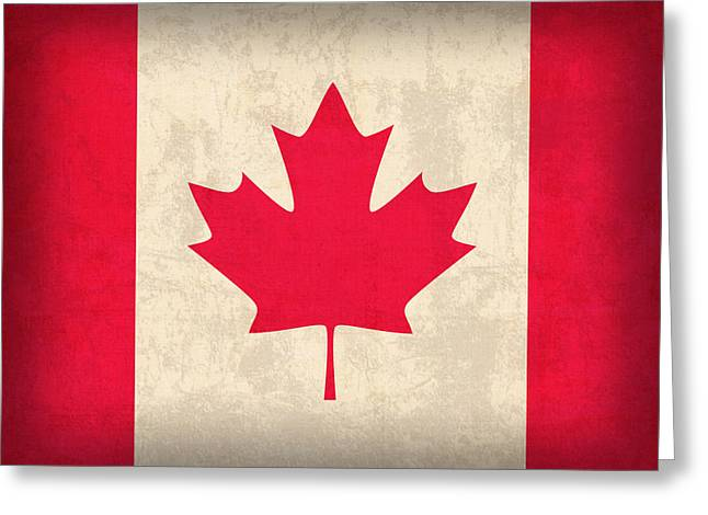 Canada Mixed Media Greeting Cards - Canada Flag Vintage Distressed Finish Greeting Card by Design Turnpike
