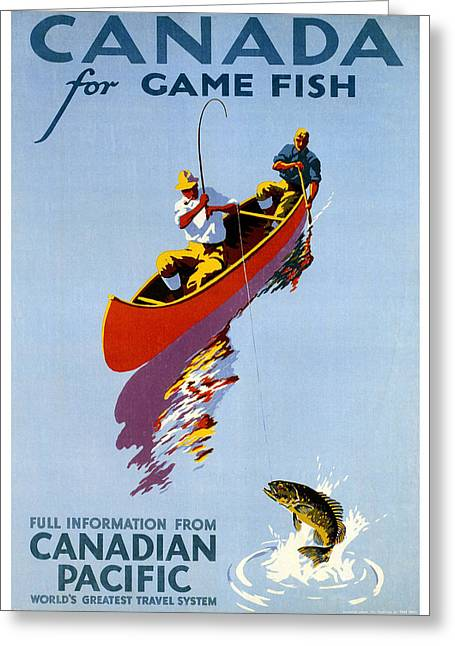 Alberta Posters Greeting Cards - Canada for Game Fish Greeting Card by Nomad Art And  Design