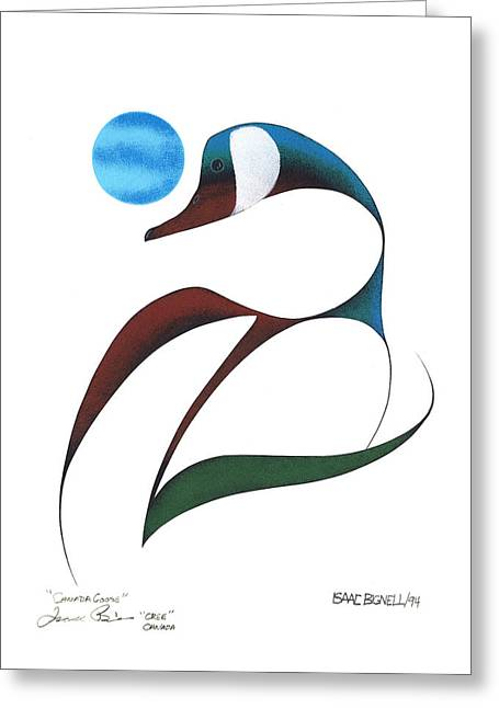 Cree Greeting Cards - Canada Goose Greeting Card by Isaac Bignell  Cree Nation Canada