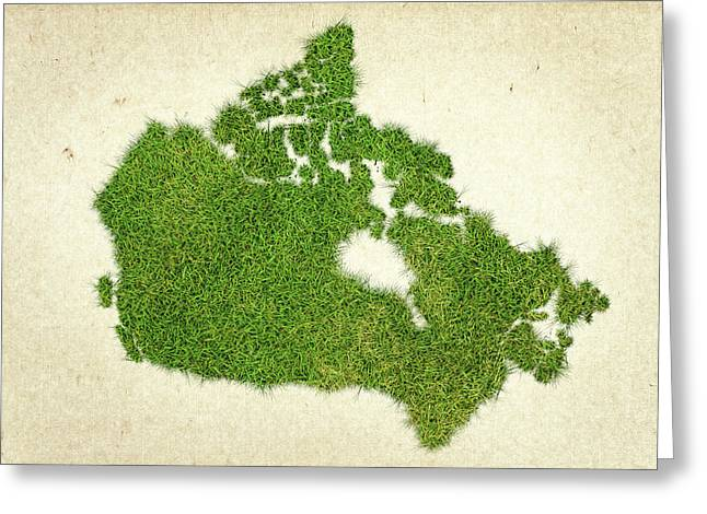 Planet Map Mixed Media Greeting Cards - Canada Grass Map Greeting Card by Aged Pixel