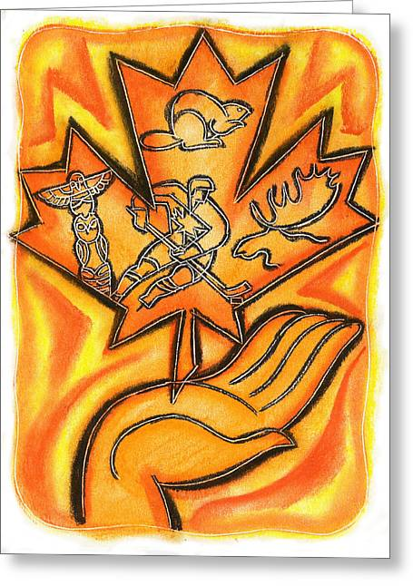 Hockey Paintings Greeting Cards - Canada Greeting Card by Leon Zernitsky
