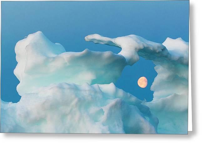 Canada, Nunavut, Territory, Moonrise Greeting Card by Paul Souders