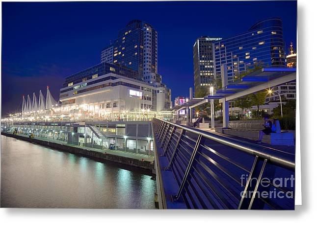 Vancouver At Night Greeting Cards - Canada Place At Dusk Greeting Card by Terry Elniski