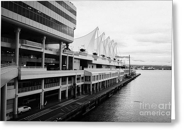 North Vancouver Greeting Cards - canada place cruise terminal vancouver on a dull grey overcast day BC Canada Greeting Card by Joe Fox