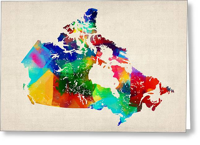 Map Of Canada Greeting Cards - Canada Rolled Paint Map Greeting Card by Michael Tompsett
