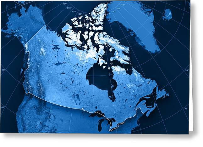 Geography Greeting Cards - Canada Topographic Map Greeting Card by Frank Ramspott