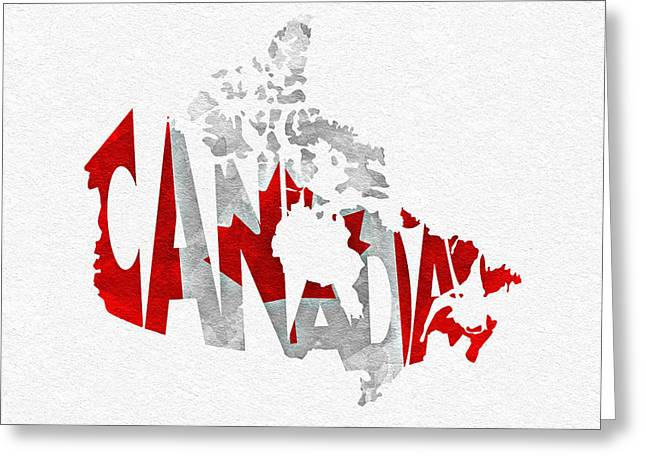 Canadian Mixed Media Greeting Cards - Canada Typographic Map Flag Greeting Card by Ayse Deniz
