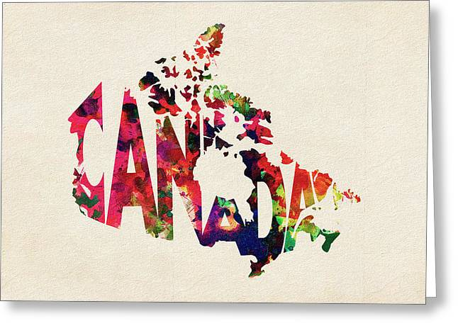 Abstract Map Greeting Cards - Canada Typographic Watercolor Map Greeting Card by Ayse Deniz