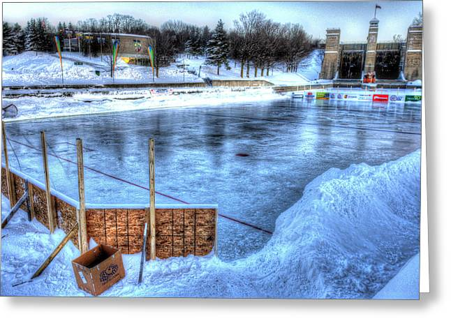 Outdoor Hockey Greeting Cards - Canadas Game Greeting Card by Rob Andrus