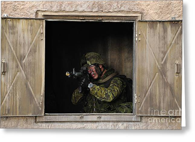 Foreign Military Greeting Cards - Canadian Army Soldier Conducts Military Greeting Card by Stocktrek Images