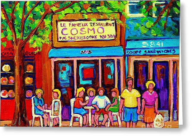 Canadian Artists Montreal Paintings Cosmos Restaurant Sherbrooke Street West Sidewalk Cafe Scene Greeting Card by Carole Spandau
