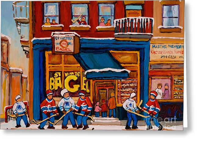 Canadian Winter Art Greeting Cards - Canadian  Artists Paint Hockey And Montreal Streetscenes Over 500 Prints Available  Greeting Card by Carole Spandau