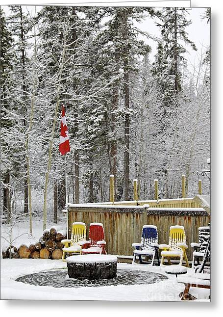 Firepit Greeting Cards - Canadian Backyard Greeting Card by Alanna Dumonceaux