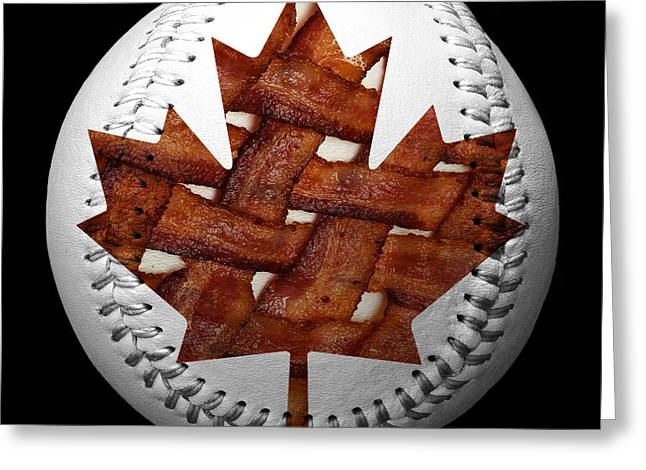 Basket Ball Game Mixed Media Greeting Cards - Canadian Bacon Lovers Baseball Square Greeting Card by Andee Design