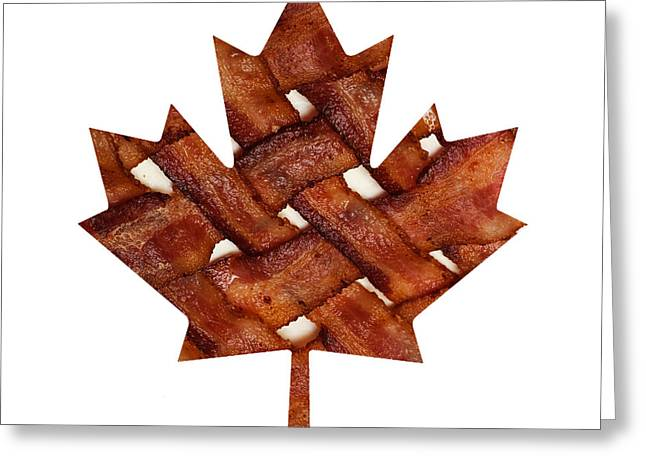 Ingredients Digital Art Greeting Cards - Canadian Bacon Lovers - Maple Leaf - Hickory Smoked - Meat - Pork - Breakfast Greeting Card by Andee Design