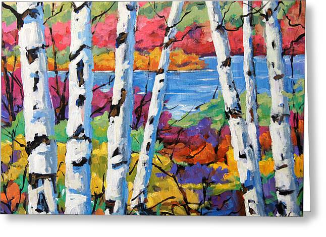 Creating Paintings Greeting Cards - Canadian Birches by Prankearts Greeting Card by Richard T Pranke