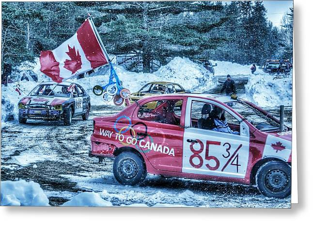 Demolition Derby Greeting Cards - Canadian flag demolition derby car Greeting Card by Lliem Seven