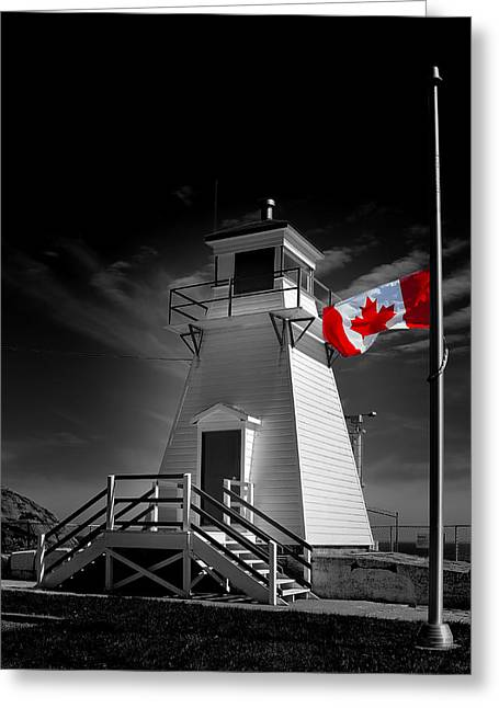 Flags Flying Greeting Cards - Canadian Flag Half-Mast Greeting Card by Steve Hurt