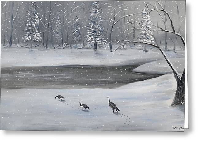 Canadian Geese In Winter Greeting Card by Brandon Hebb