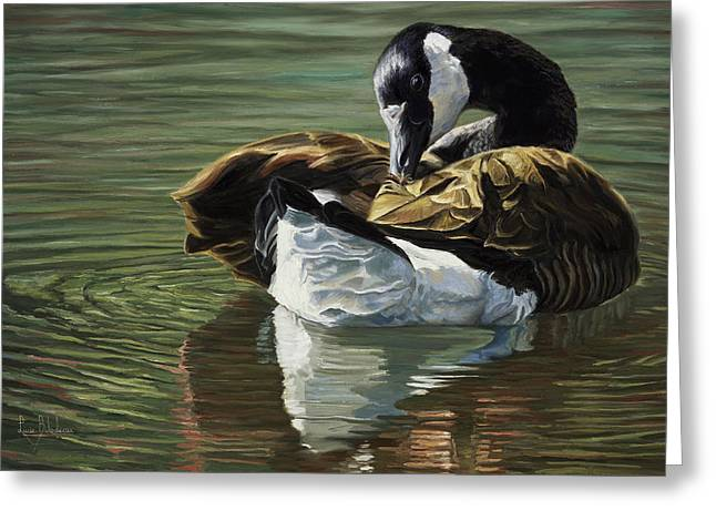 Wild Geese Greeting Cards - Canadian Goose Greeting Card by Lucie Bilodeau