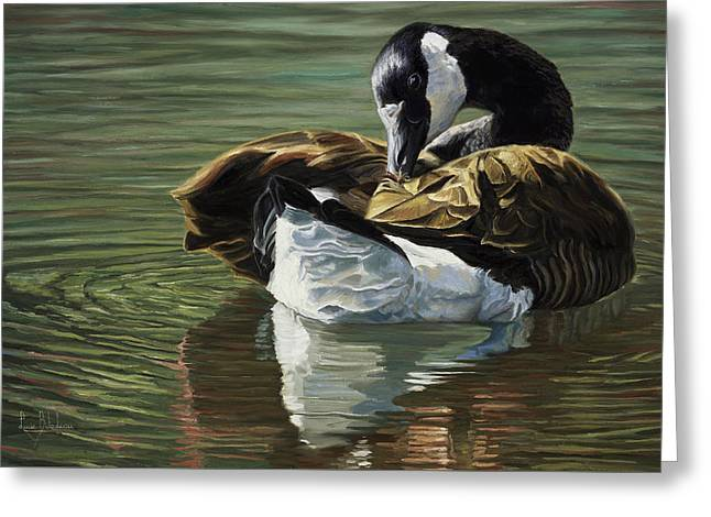 Wild Goose Greeting Cards - Canadian Goose Greeting Card by Lucie Bilodeau