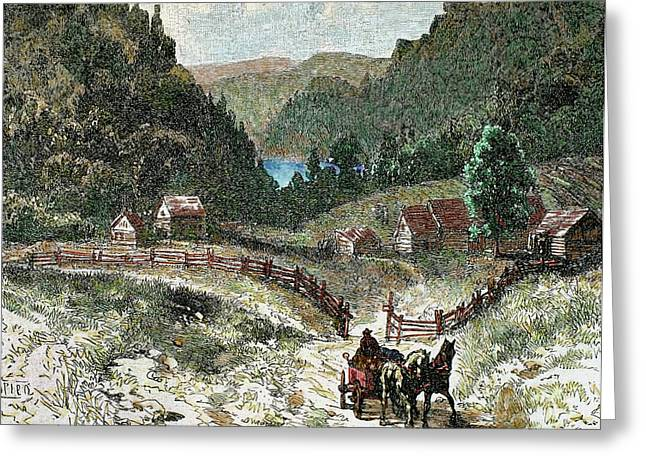Canadian Landscape In The Eighteenth Greeting Card by Prisma Archivo