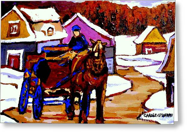Horse And Buggy Paintings Greeting Cards - Canadian Landscape Paintings Quebec Village Scenes Horse Sled And Rider Quebec Paintings C Spandau Greeting Card by Carole Spandau