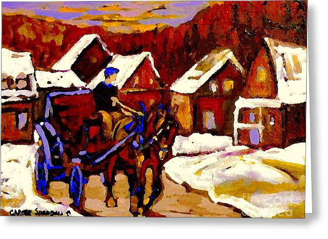 Horse And Buggy Paintings Greeting Cards - Canadian Landscape Paintings Red Sled Rider Leaving The Village Quebec Winter Painting Cspandau  Greeting Card by Carole Spandau