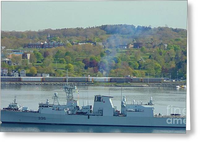 Recently Sold -  - Boats In Harbor Greeting Cards - Canadian Navy Greeting Card by John Malone