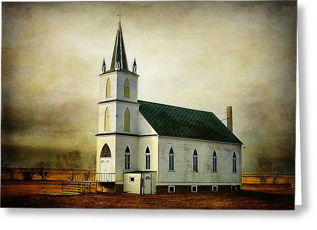 Zion Lutheran Church Greeting Cards - Canadian Prairie Heritage Greeting Card by Blair Wainman