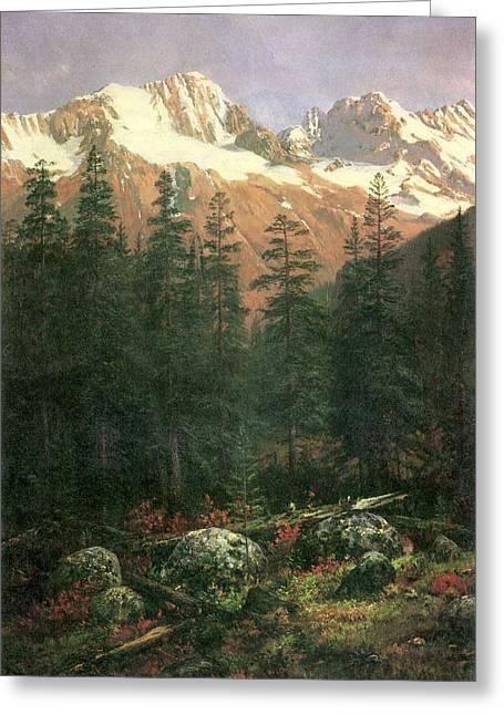 Bierstadt Digital Art Greeting Cards - Canadian Rockies Greeting Card by Albert Bierstadt