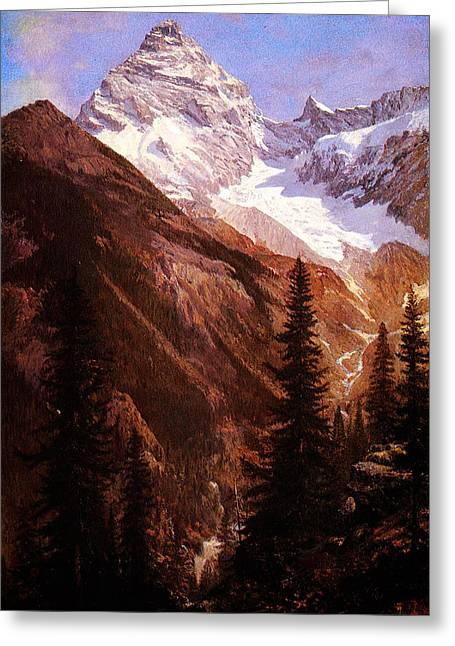 Constable Greeting Cards - Canadian Rockies Asulkan Glacier Greeting Card by MotionAge Designs