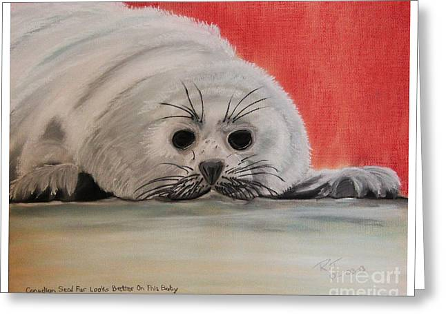 Canada Pastels Greeting Cards - Canadian Seal Fur Looks Better On This Baby Greeting Card by Robert Timmons