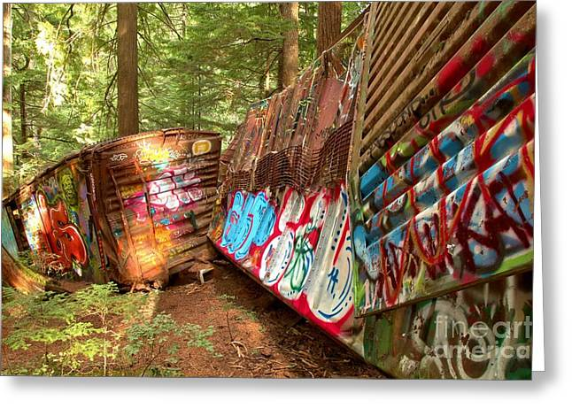 Canadian Train Wreck Greeting Card by Adam Jewell