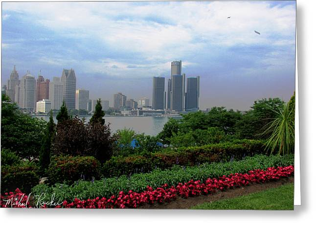 Renaissance Center Greeting Cards - Canadian View of Detroit Greeting Card by Michael Rucker