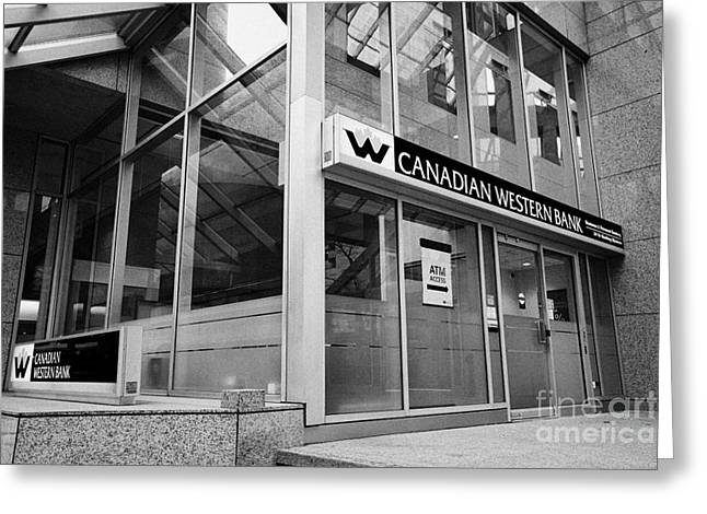 Financial District Greeting Cards - canadian western bank branch in the financial district Vancouver BC Canada Greeting Card by Joe Fox