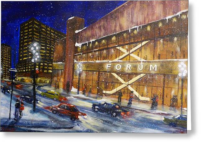 Hockey Paintings Greeting Cards - Canadiens Hockey At Montreal Forum Greeting Card by Brent Arlitt