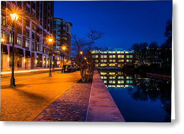 Recently Sold -  - Streetlight Greeting Cards - Canal along a street at night in Baltimore Greeting Card by Jon Bilous