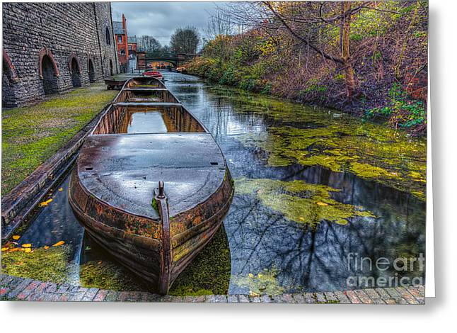 Moss Digital Art Greeting Cards - Canal Boat Greeting Card by Adrian Evans