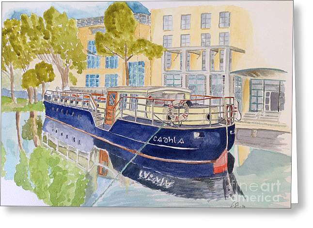 Canal Drawings Greeting Cards - Canal Boat Greeting Card by Eva Ason