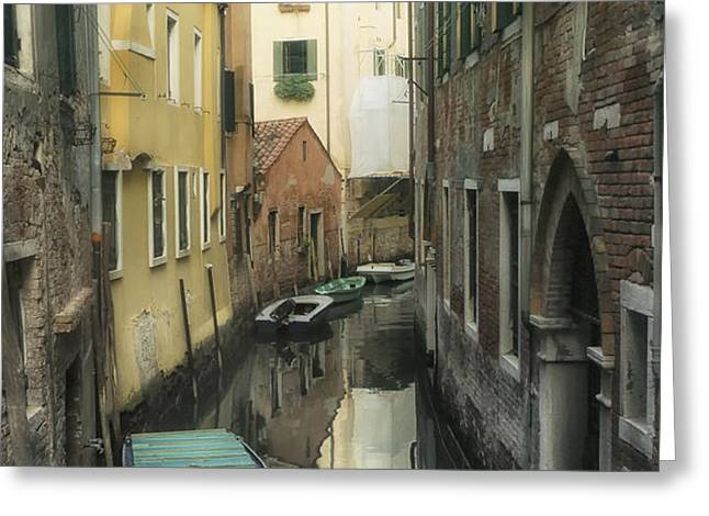 Canal boats and reflections Venice Italy Greeting Card by Marianne Campolongo